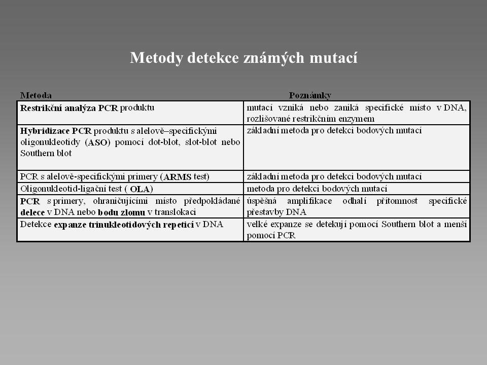 P ř ímá DNA diagnostika Metoda p ř ímé detekce ji ž známých mutací Detekce známé sekvenční změny je možná u: 1) chorob s předpokládanou alelickou homo