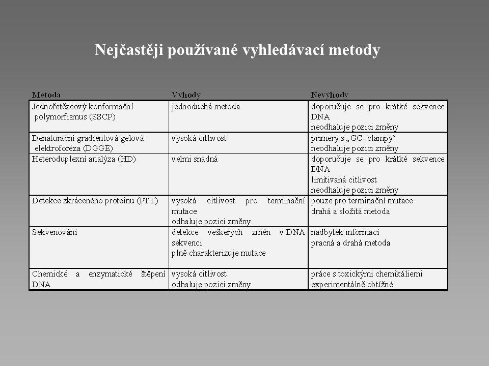 Přímá DNA diagnostika Metody p ř ímého vyhledávání neznámých mutací (screenovací metody) - odhalí jakékoliv odchylky v sekvenci DNA pacienta, avšak vž