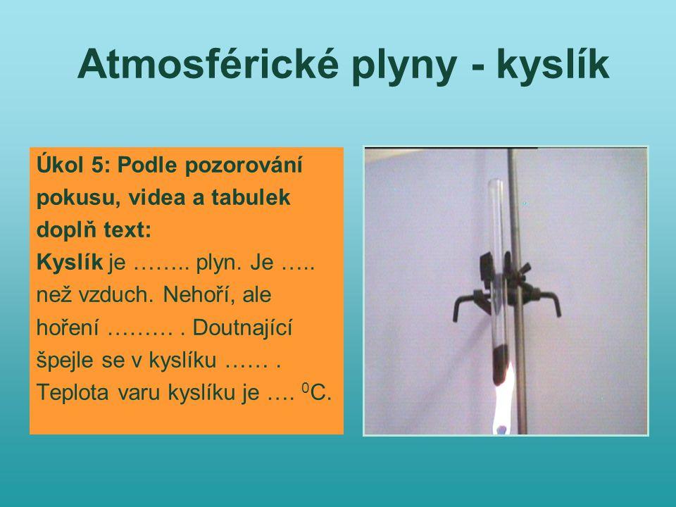 Atmosférické plyny - kyslík Úkol 5: Podle pozorování pokusu, videa a tabulek doplň text: Kyslík je ……..