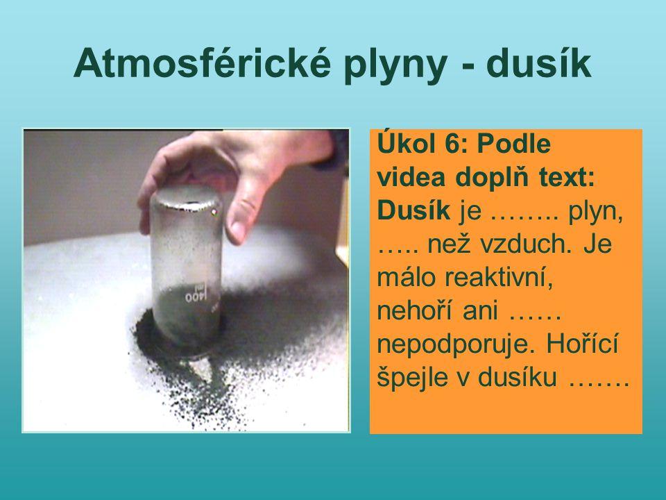 Atmosférické plyny - dusík Úkol 6: Podle videa doplň text: Dusík je ……..