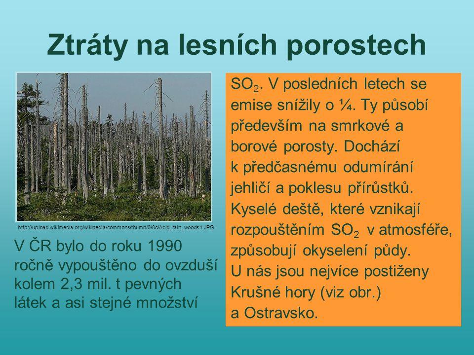 Ztráty na lesních porostech SO 2. V posledních letech se emise snížily o ¼.