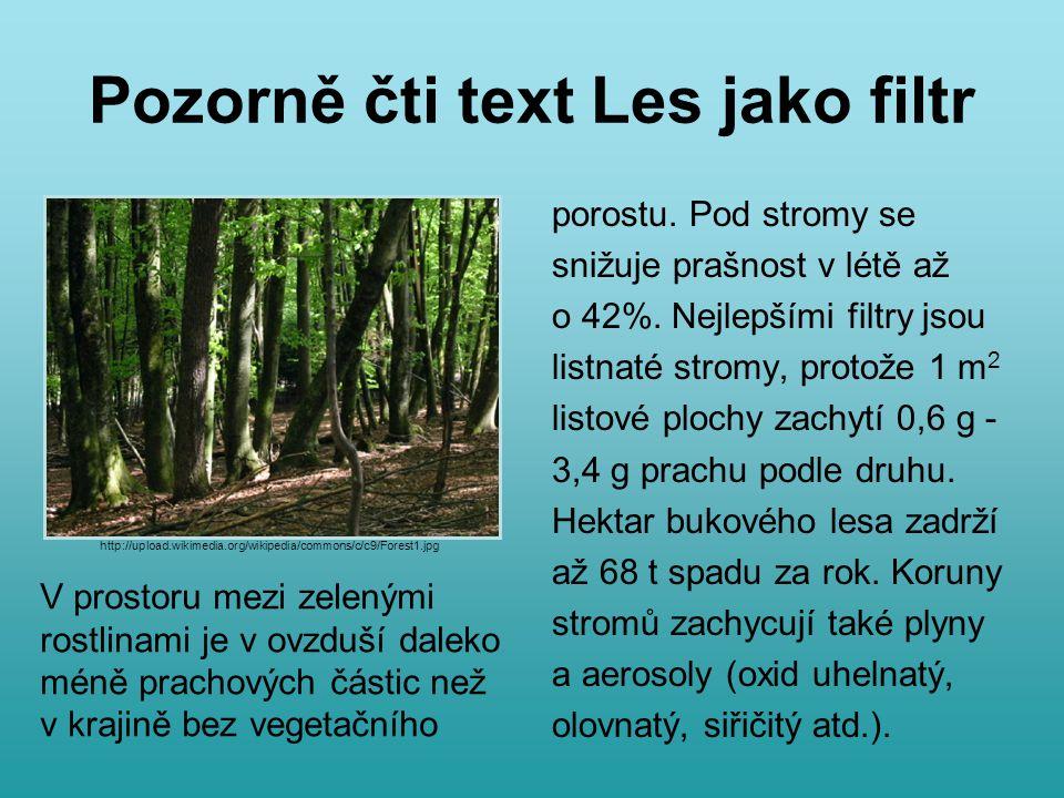 Pozorně čti text Les jako filtr porostu. Pod stromy se snižuje prašnost v létě až o 42%.
