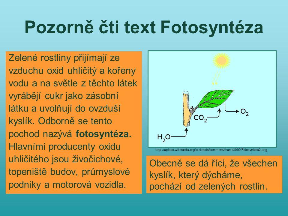 Pozorně čti text Fotosyntéza Zelené rostliny přijímají ze vzduchu oxid uhličitý a kořeny vodu a na světle z těchto látek vyrábějí cukr jako zásobní látku a uvolňují do ovzduší kyslík.
