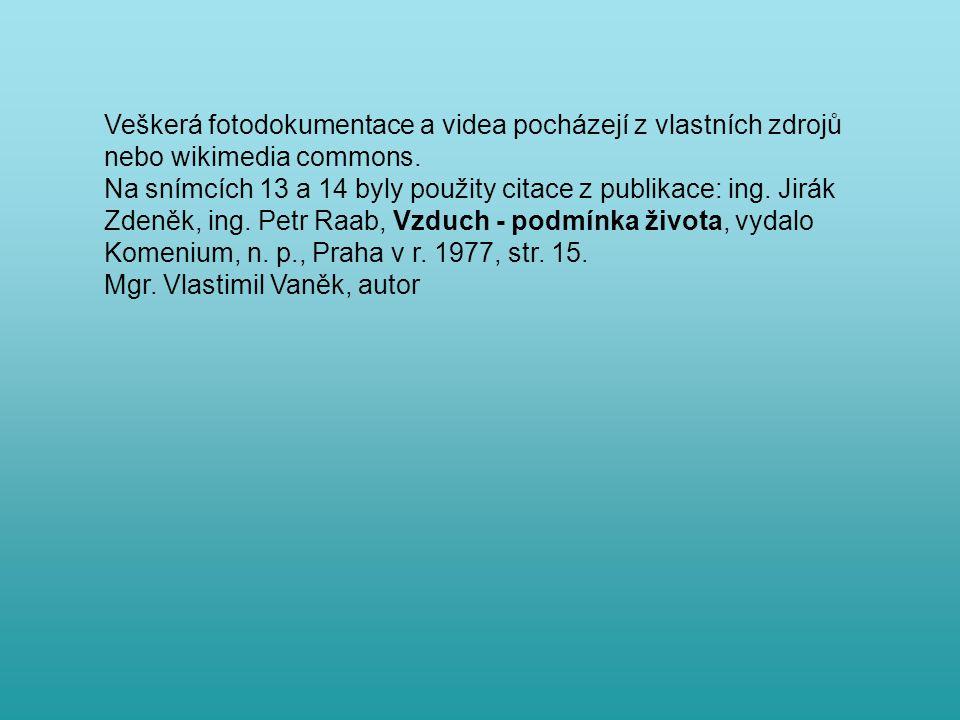 Veškerá fotodokumentace a videa pocházejí z vlastních zdrojů nebo wikimedia commons.