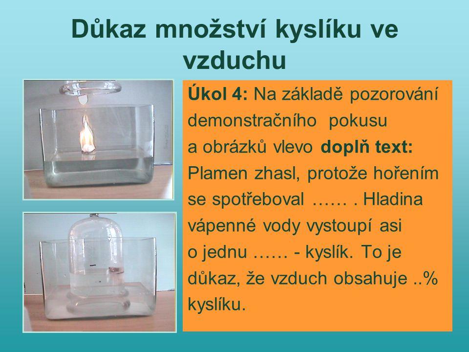 Důkaz množství kyslíku ve vzduchu Úkol 4: Na základě pozorování demonstračního pokusu a obrázků vlevo doplň text: Plamen zhasl, protože hořením se spotřeboval …….
