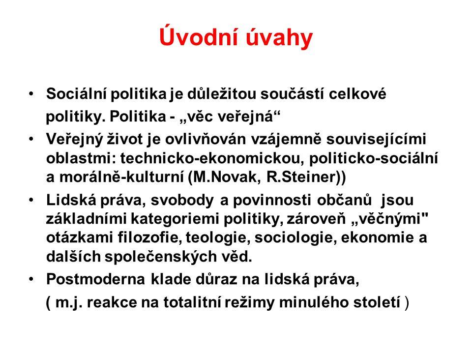 """Úvodní úvahy Sociální politika je důležitou součástí celkové politiky. Politika - """"věc veřejná"""" Veřejný život je ovlivňován vzájemně souvisejícími obl"""