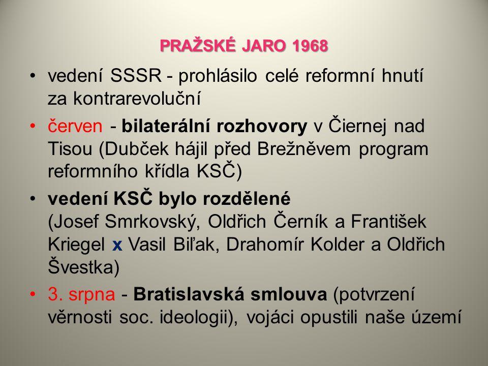 PRAŽSKÉ JARO 1968 vedení SSSR - prohlásilo celé reformní hnutí za kontrarevoluční červen - bilaterální rozhovory v Čiernej nad Tisou (Dubček hájil pře