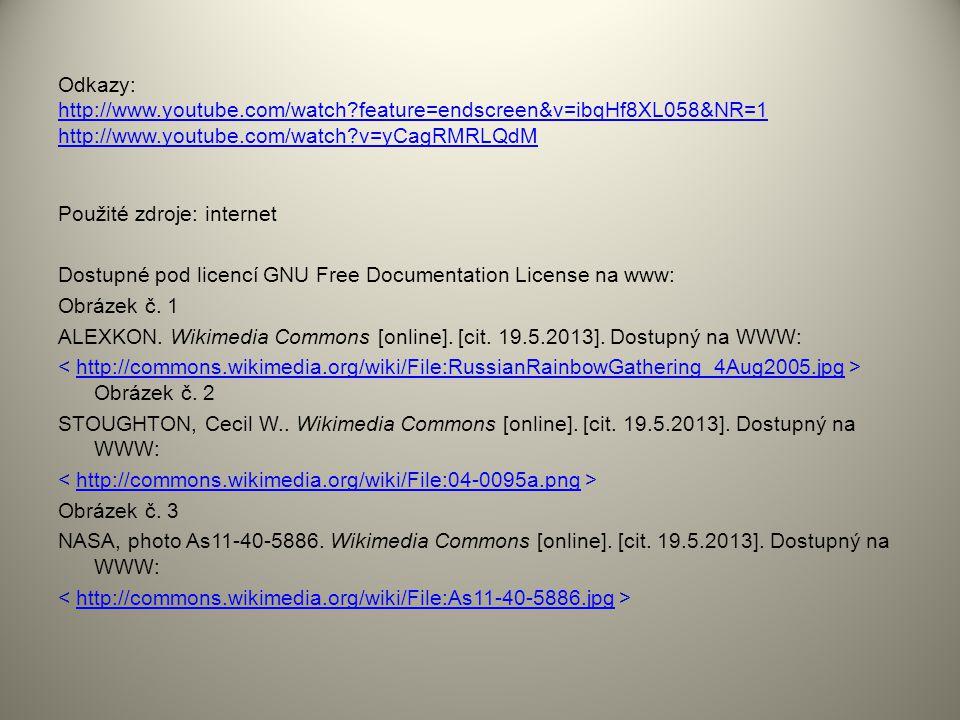 Odkazy: http://www.youtube.com/watch?feature=endscreen&v=ibqHf8XL058&NR=1 http://www.youtube.com/watch?v=yCagRMRLQdM http://www.youtube.com/watch?feat
