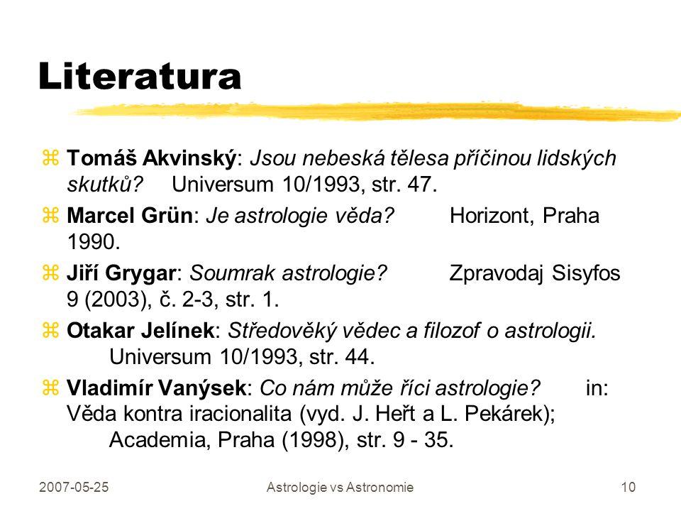 2007-05-25Astrologie vs Astronomie10 Literatura zTomáš Akvinský: Jsou nebeská tělesa příčinou lidských skutků? Universum 10/1993, str. 47. zMarcel Grü