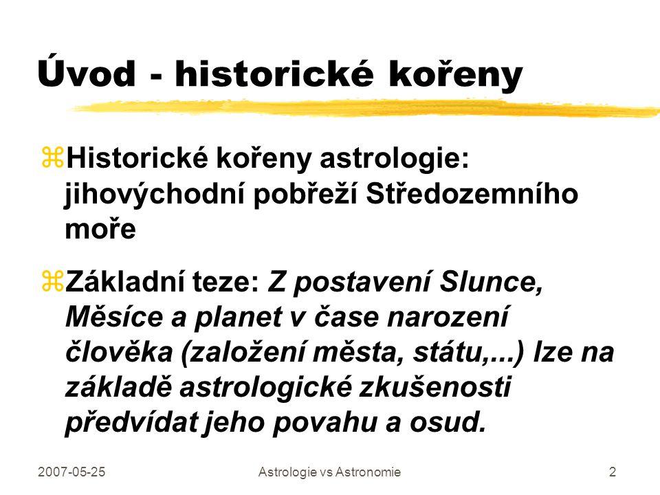 2007-05-25Astrologie vs Astronomie2 Úvod - historické kořeny zHistorické kořeny astrologie: jihovýchodní pobřeží Středozemního moře zZákladní teze: Z