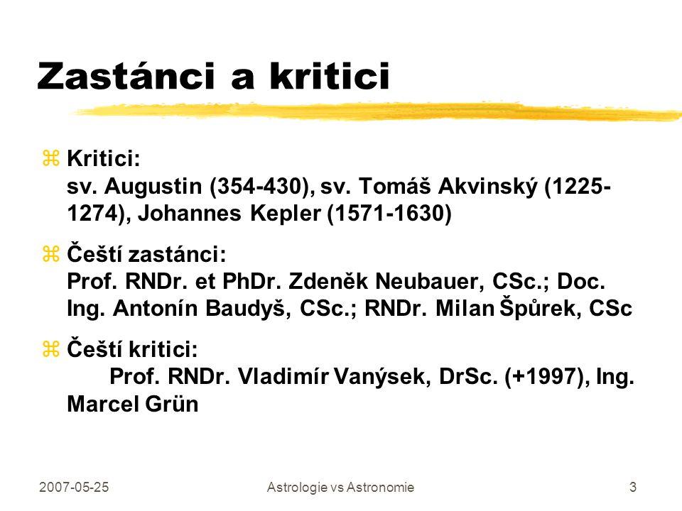 2007-05-25Astrologie vs Astronomie3 Zastánci a kritici zKritici: sv. Augustin (354-430), sv. Tomáš Akvinský (1225- 1274), Johannes Kepler (1571-1630)