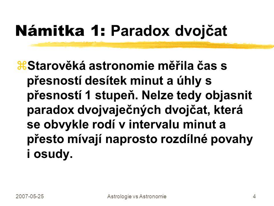 2007-05-25Astrologie vs Astronomie4 Námitka 1: Paradox dvojčat zStarověká astronomie měřila čas s přesností desítek minut a úhly s přesností 1 stupeň.