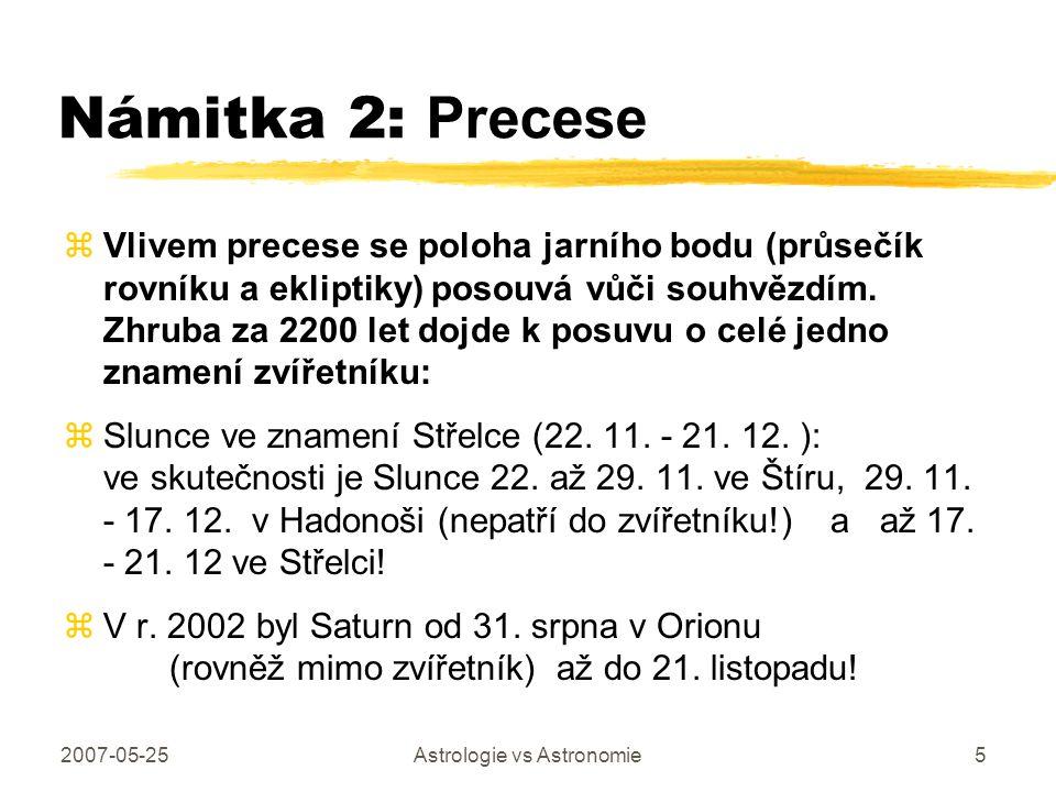 2007-05-25Astrologie vs Astronomie5 Námitka 2: Precese zVlivem precese se poloha jarního bodu (průsečík rovníku a ekliptiky) posouvá vůči souhvězdím.