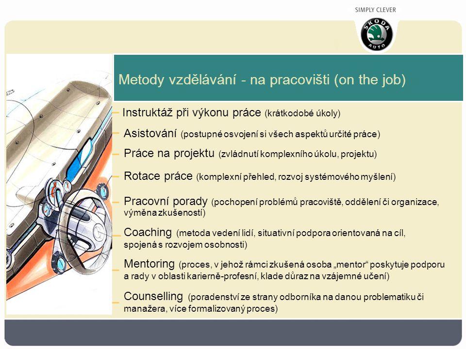 """Metody vzdělávání - na pracovišti (on the job) Instruktáž při výkonu práce (krátkodobé úkoly) Asistování (postupné osvojení si všech aspektů určité práce) Práce na projektu (zvládnutí komplexního úkolu, projektu) Rotace práce (komplexní přehled, rozvoj systémového myšlení) Pracovní porady (pochopení problémů pracoviště, oddělení či organizace, výměna zkušeností) Coaching (metoda vedení lidí, situativní podpora orientovaná na cíl, spojená s rozvojem osobnosti) Mentoring (proces, v jehož rámci zkušená osoba """"mentor poskytuje podporu a rady v oblasti karierně-profesní, klade důraz na vzájemné učení) Counselling (poradenství ze strany odborníka na danou problematiku či manažera, více formalizovaný proces)"""