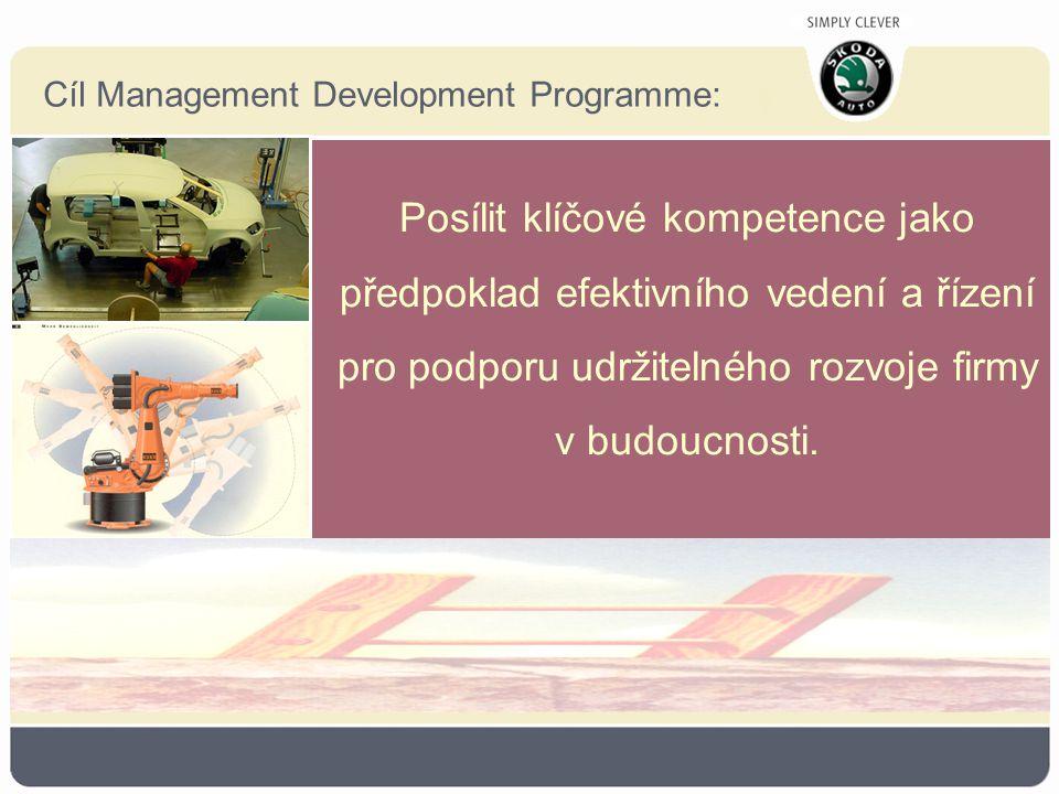 Cíl Management Development Programme: Posílit klíčové kompetence jako předpoklad efektivního vedení a řízení pro podporu udržitelného rozvoje firmy v budoucnosti.