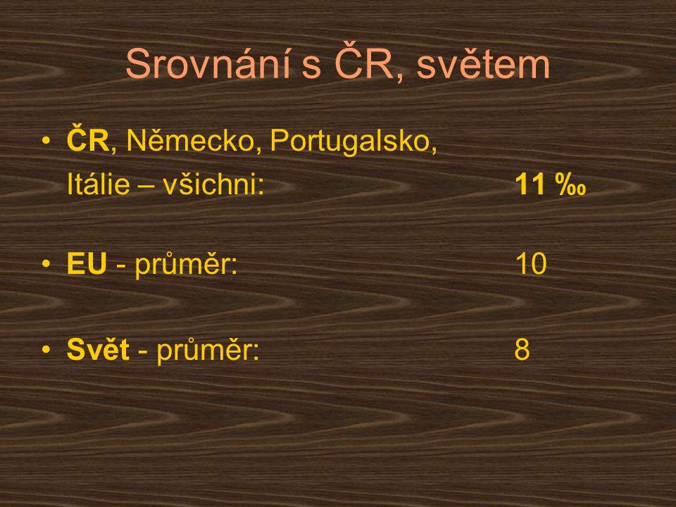 Srovnání s ČR, světem ČR, Německo, Portugalsko, Itálie – všichni: 11 ‰ EU - průměr:10 Svět - průměr: 8
