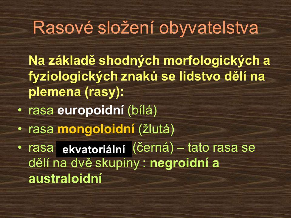 Rasové složení obyvatelstva Na základě shodných morfologických a fyziologických znaků se lidstvo dělí na plemena (rasy): rasa europoidní (bílá) rasa m