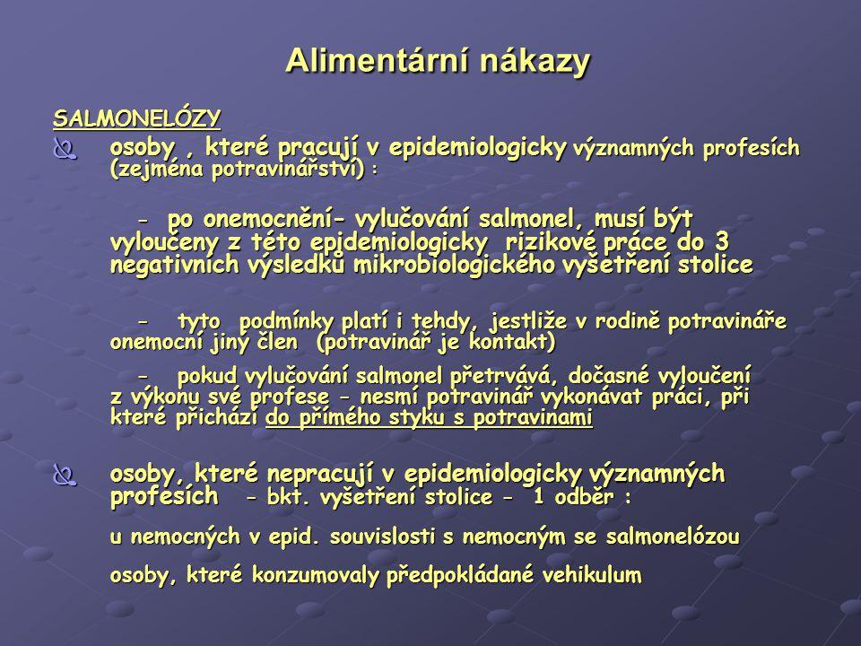Alimentární nákazy Alimentární nákazy  Protiepidemická opatření - represivní  hlášení onemocnění  izolace postiženého (hospitalizaci vyžadují pouze