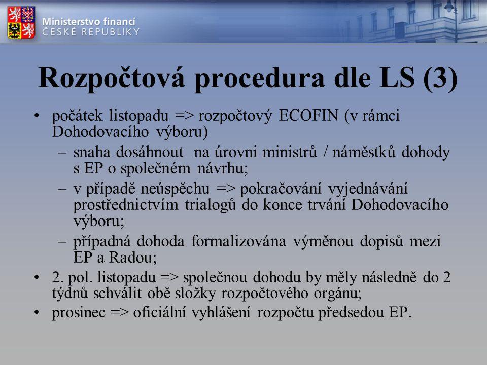 Praktické dopady Změna schvalovací procedury u transferů –dosud různá procedura u transferů k povinným výdajům, nepovinným výdajům a smíšeným; –povinné výdaje => rozhodovala Rada po konzultaci EP; –nepovinné výdaje => rozhodoval EP po konzultaci Rady; –smíšené transfery => Rada i EP mohly částku snížit, platila částka nižší; pokud jedna instituce transfer zamítla, neuskutečnil se; –nyní bude EP a Rada rozhodovat o všech výdajích (postup jako u smíšených transferů);