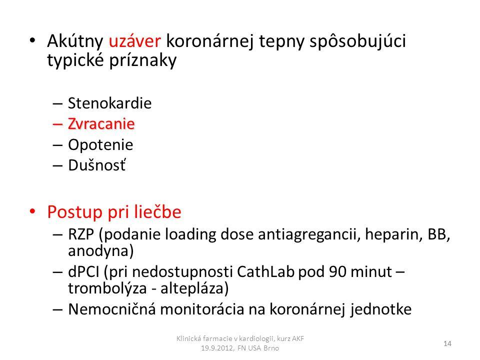 Akútny uzáver koronárnej tepny spôsobujúci typické príznaky – Stenokardie – Zvracanie – Opotenie – Dušnosť Postup pri liečbe – RZP (podanie loading do