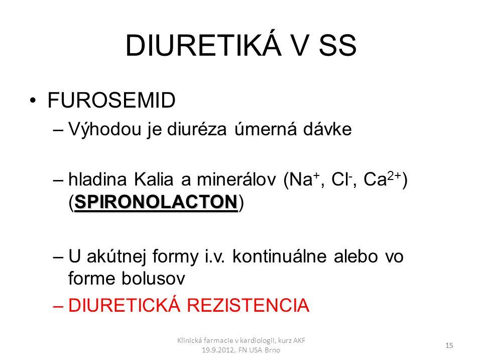 DIURETIKÁ V SS FUROSEMID –Výhodou je diuréza úmerná dávke SPIRONOLACTON –hladina Kalia a minerálov (Na +, Cl -, Ca 2+ ) (SPIRONOLACTON) –U akútnej for