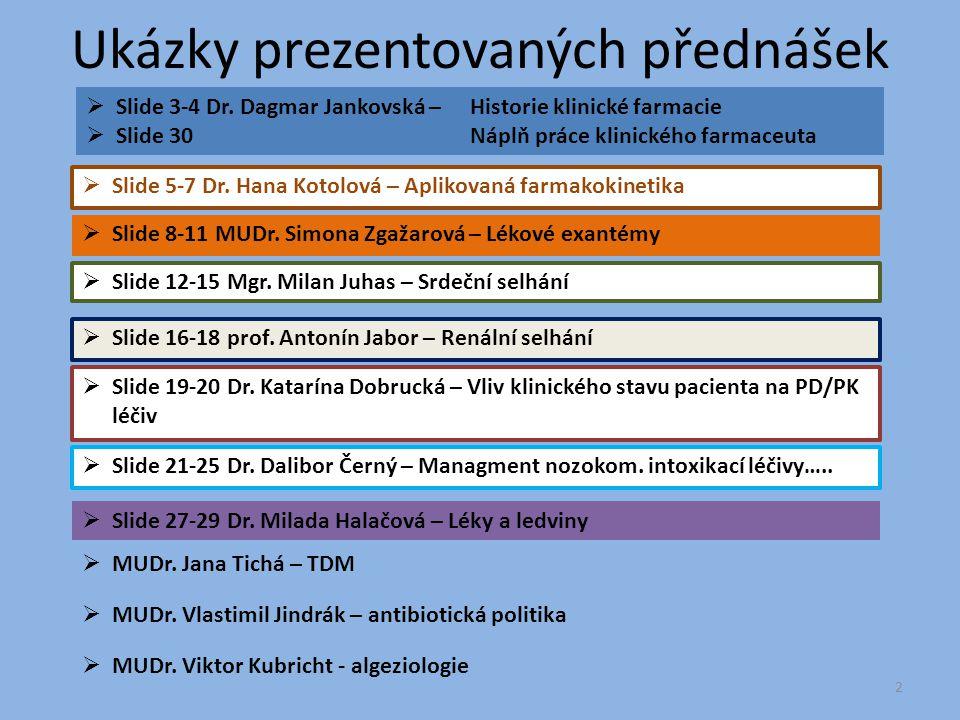 Ukázky prezentovaných přednášek  Slide 3-4 Dr. Dagmar Jankovská – Historie klinické farmacie  Slide 30Náplň práce klinického farmaceuta  Slide 8-11