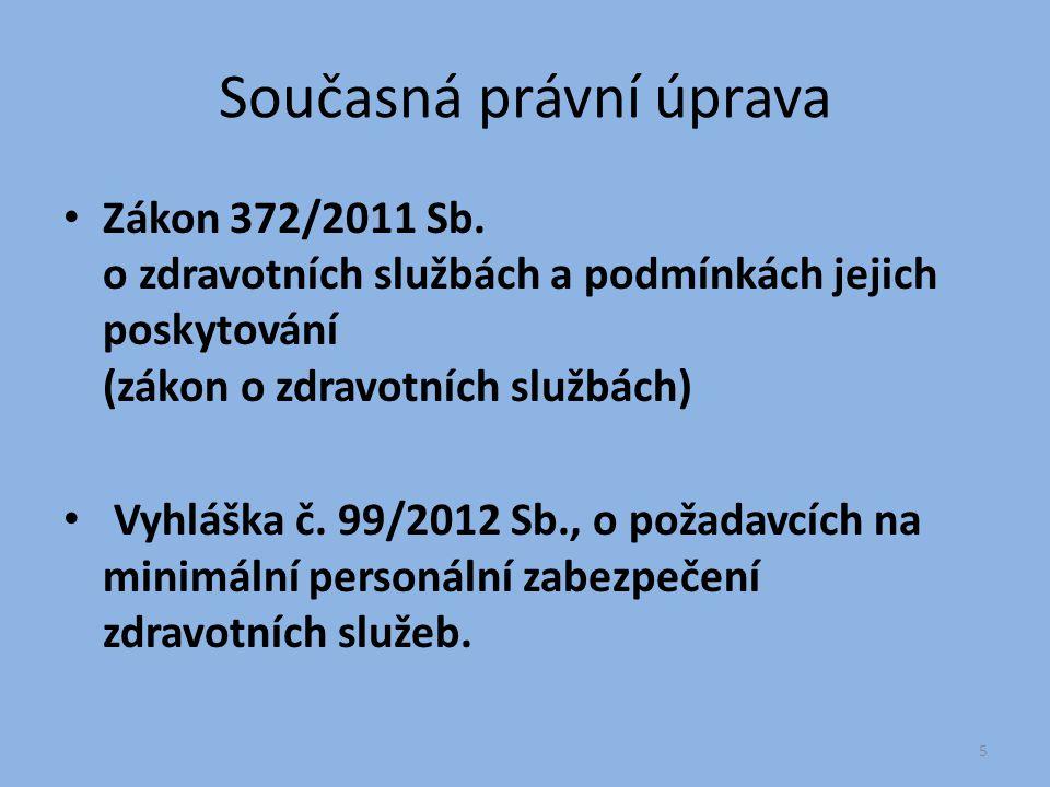Současná právní úprava Zákon 372/2011 Sb. o zdravotních službách a podmínkách jejich poskytování (zákon o zdravotních službách) Vyhláška č. 99/2012 Sb