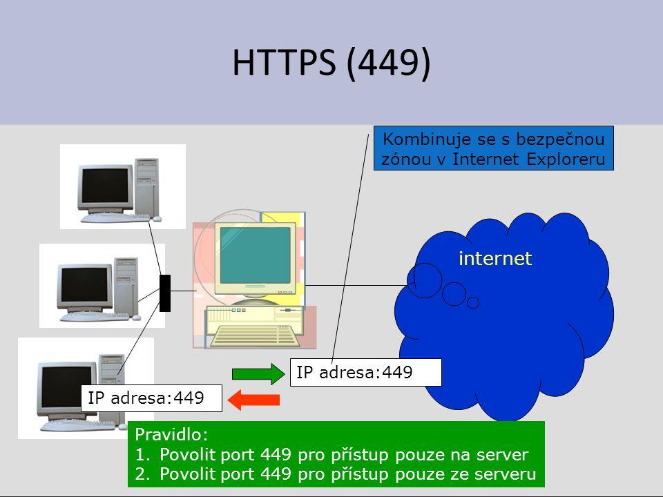 HTTPS (449) internet IP adresa:449 Kombinuje se s bezpečnou zónou v Internet Exploreru IP adresa:449 Pravidlo: 1.Povolit port 449 pro přístup pouze na server 2.Povolit port 449 pro přístup pouze ze serveru