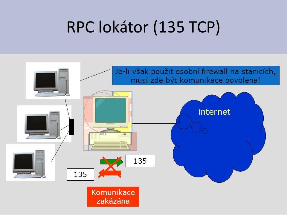 RPC lokátor (135 TCP) internet Komunikace zakázána 135 Je-li však použit osobní firewall na stanicích, musí zde být komunikace povolena!