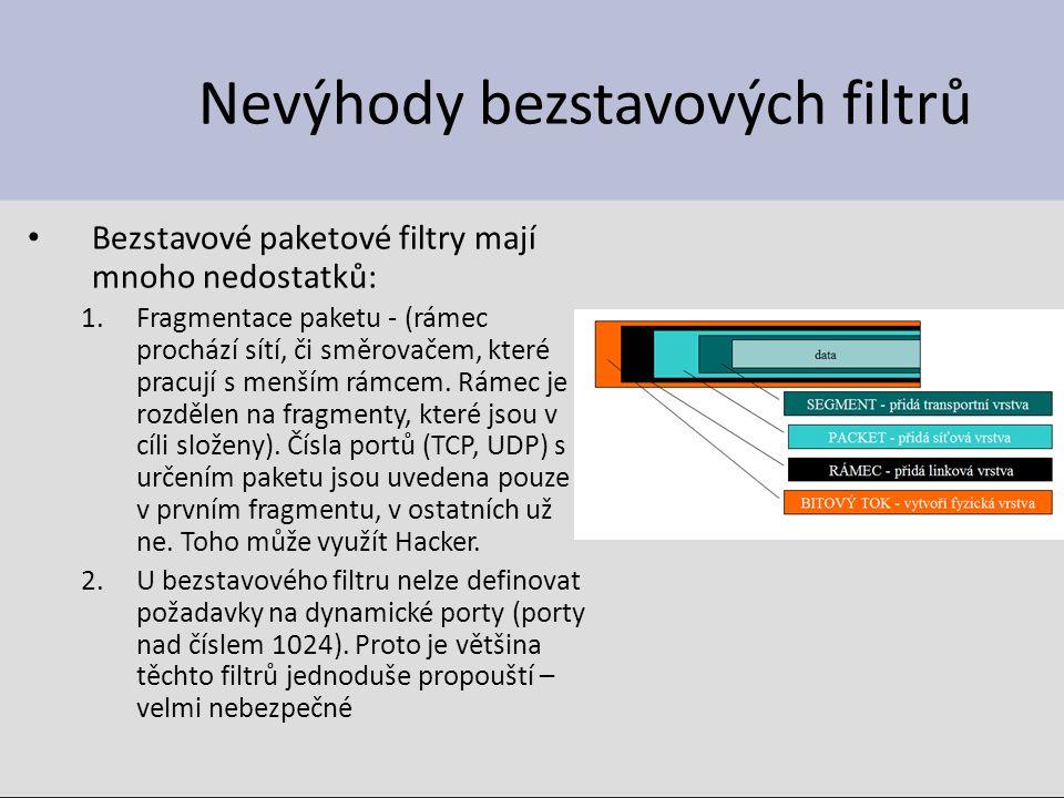 Nevýhody bezstavových filtrů Bezstavové paketové filtry mají mnoho nedostatků: 1.Fragmentace paketu - (rámec prochází sítí, či směrovačem, které pracují s menším rámcem.