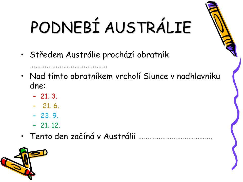 PODNEBÍ AUSTRÁLIE Středem Austrálie prochází obratník …………………………………… Nad tímto obratníkem vrcholí Slunce v nadhlavníku dne: –21. 3. – 21. 6. –23. 9. –