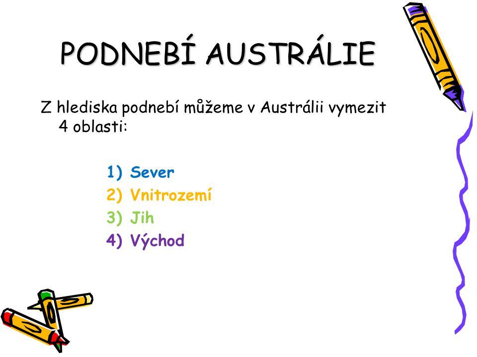 PODNEBÍ AUSTRÁLIE Z hlediska podnebí můžeme v Austrálii vymezit 4 oblasti: 1)Sever 2)Vnitrozemí 3)Jih 4)Východ