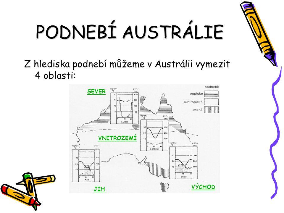 PODNEBÍ AUSTRÁLIE Z hlediska podnebí můžeme v Austrálii vymezit 4 oblasti: SEVER JIH VÝCHOD VNITROZEMÍ