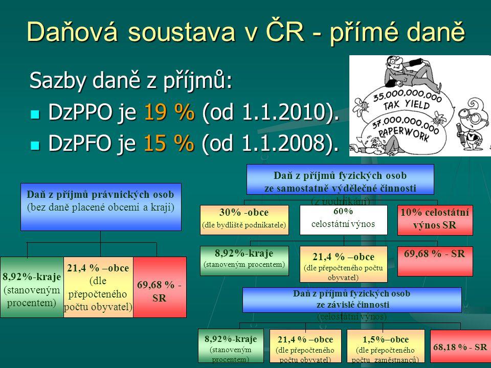 Sazby daně z příjmů: DzPPO je 19 % (od 1.1.2010). DzPPO je 19 % (od 1.1.2010). DzPFO je 15 % (od 1.1.2008). DzPFO je 15 % (od 1.1.2008). Daňová sousta