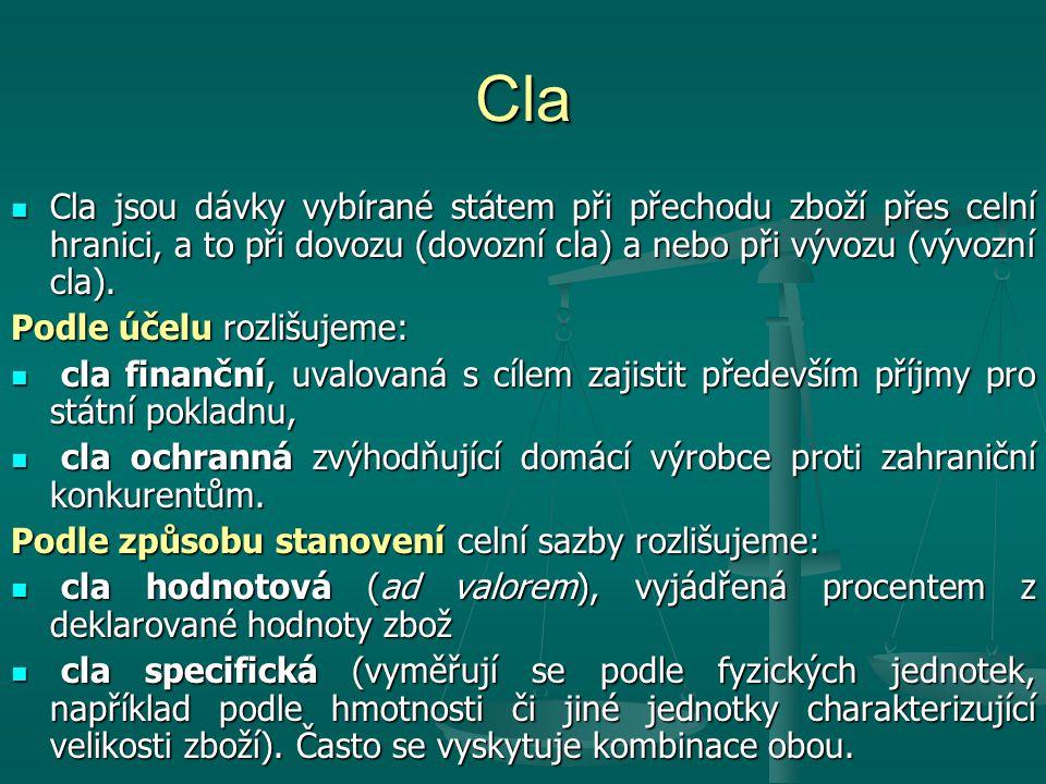 Cla Cla jsou dávky vybírané státem při přechodu zboží přes celní hranici, a to při dovozu (dovozní cla) a nebo při vývozu (vývozní cla). Cla jsou dávk