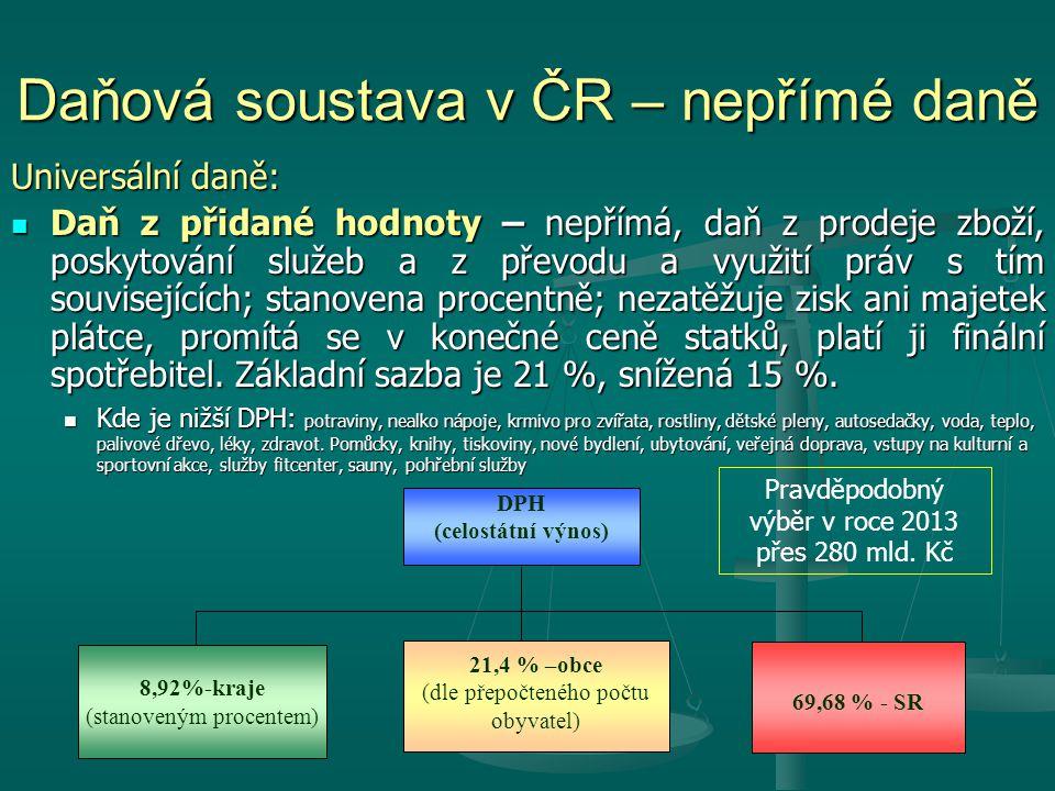 Daňová soustava v ČR – nepřímé daně Universální daně: Daň z přidané hodnoty – nepřímá, daň z prodeje zboží, poskytování služeb a z převodu a využití p