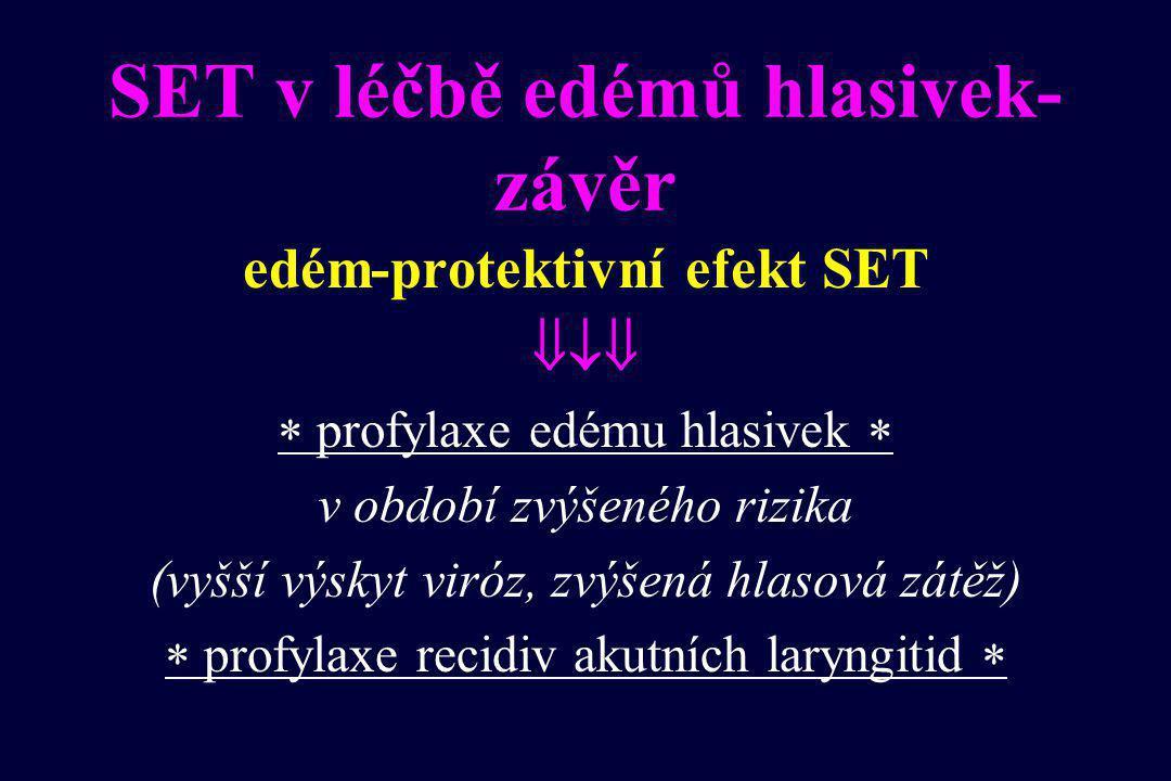 SET v léčbě edémů hlasivek- závěr edém-protektivní efekt SET   profylaxe edému hlasivek  v období zvýšeného rizika (vyšší výskyt viróz, zvýšená hlasová zátěž)  profylaxe recidiv akutních laryngitid 