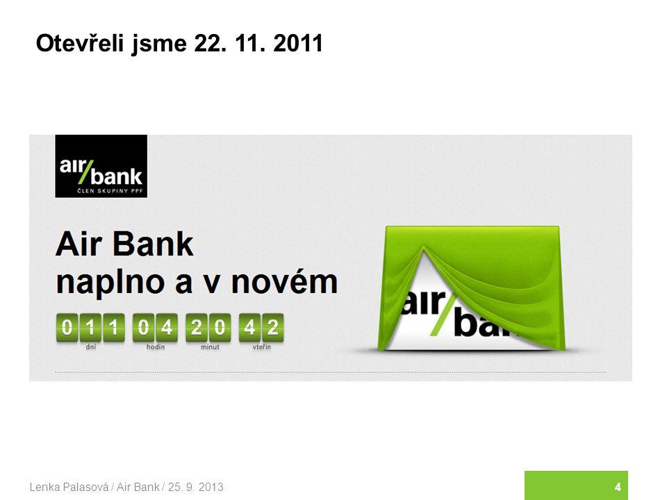 15Lenka Palasová / Air Bank / 25. 9. 2013 Nic nezamlčujeme