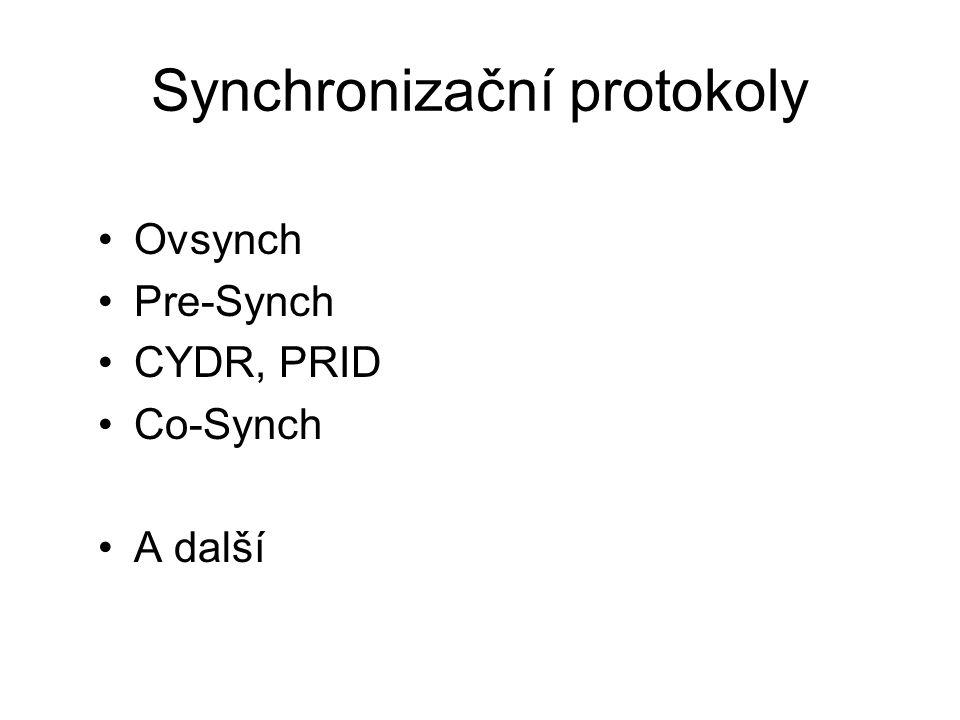Synchronizační protokoly Ovsynch Pre-Synch CYDR, PRID Co-Synch A další
