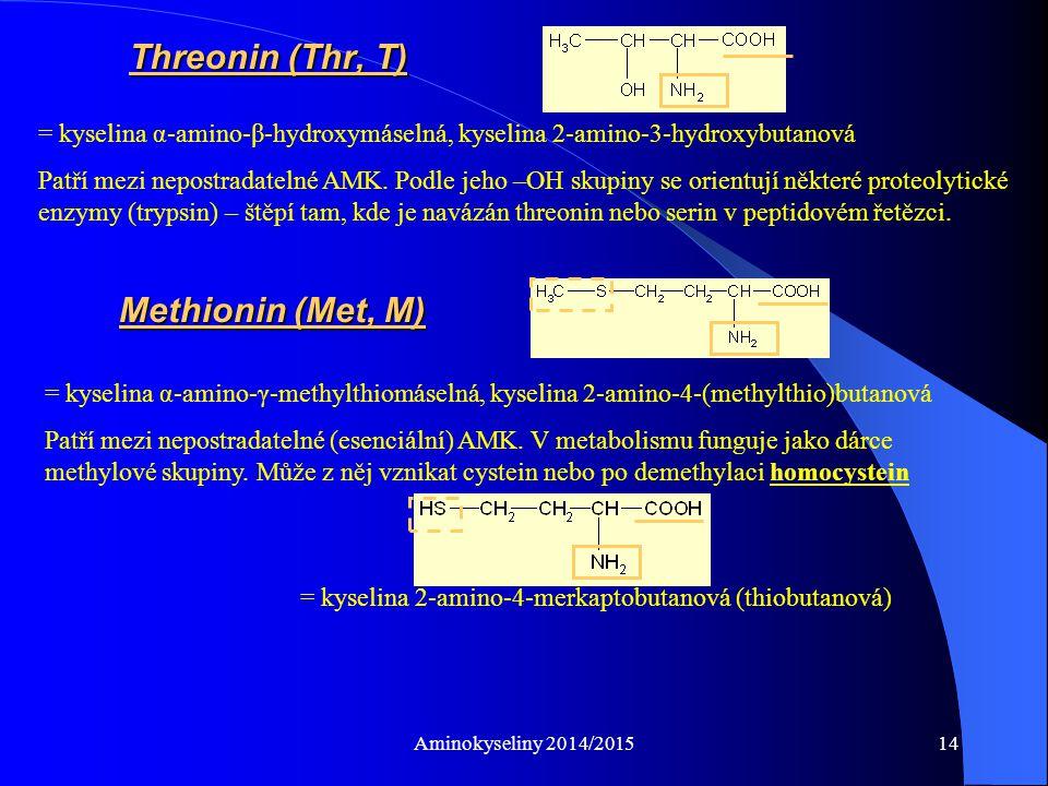 Aminokyseliny 2014/201514 Threonin (Thr, T) = kyselina α-amino-β-hydroxymáselná, kyselina 2-amino-3-hydroxybutanová Patří mezi nepostradatelné AMK.