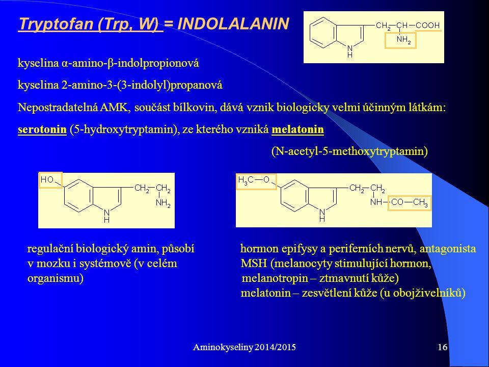 Aminokyseliny 2014/201516 Tryptofan (Trp, W) = INDOLALANIN kyselina α-amino-β-indolpropionová kyselina 2-amino-3-(3-indolyl)propanová Nepostradatelná AMK, součást bílkovin, dává vznik biologicky velmi účinným látkám: serotonin (5-hydroxytryptamin), ze kterého vzniká melatonin (N-acetyl-5-methoxytryptamin) regulační biologický amin, působí hormon epifysy a periferních nervů, antagonista v mozku i systémově (v celém MSH (melanocyty stimulující hormon, organismu) melanotropin – ztmavnutí kůže) melatonin – zesvětlení kůže (u obojživelníků)