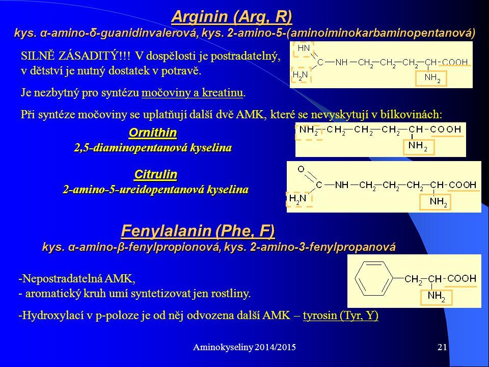 Aminokyseliny 2014/201522 Podmíněně esenciální AMK, při dostatku Phe z něj může vznikat Tyr je základem pro syntézu biologicky významných látek: hormony dřeně nadledvin (adrenalin, noradrenalin) hormony štítné žlázy (thyroxin, trijodthyronin) přirozená barviva – melaniny (pigmenty vlasů, vousů, kůže, očí) Tyrosin (Tyr, Y) p-hydroxyfenylalanin, kys.