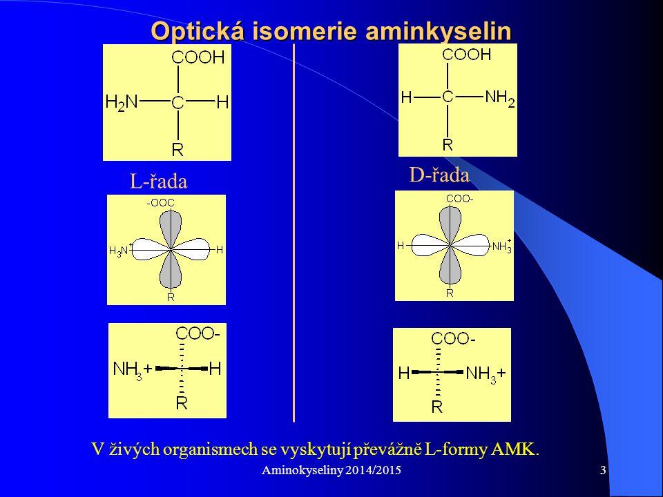 Aminokyseliny 2014/20154 Eluční profil vzorku (hydrolyzátu) Identifikace aminokyselin v neznámém vzorku (popř.