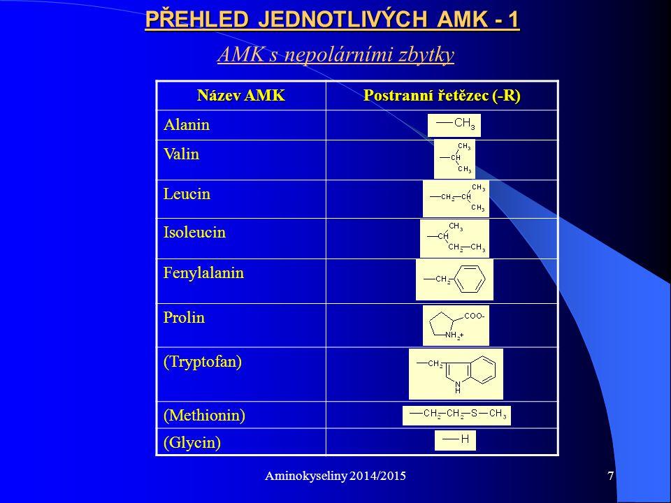 Aminokyseliny 2014/20158 PŘEHLED JEDNOTLIVÝCH AMK - 2 AMK s polárními neionizovatelnými zbytky Název AMK Postranní řetězec (-R) Serin Threonin Tyrosin Cystein Asparagin Glutamin (Glycin)Viz výše – tyto AMK mají přechodný charakter (Methionin) (Tryptofan)