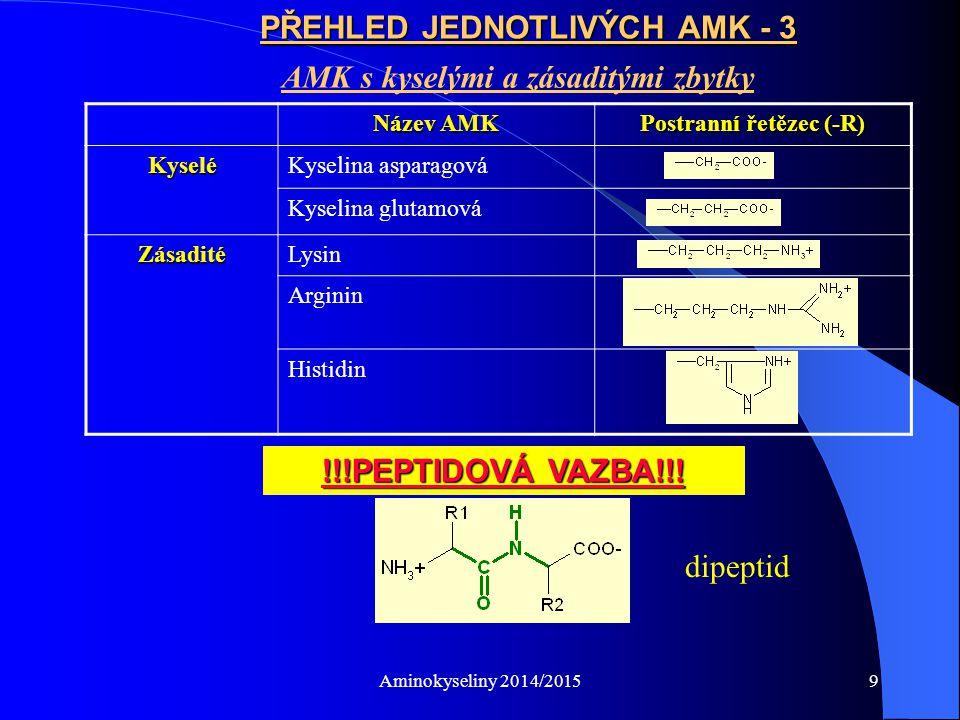 Aminokyseliny 2014/20159 PŘEHLED JEDNOTLIVÝCH AMK - 3 AMK s kyselými a zásaditými zbytky Název AMK Postranní řetězec (-R) KyseléKyselina asparagová Kyselina glutamová ZásaditéLysin Arginin Histidin !!!PEPTIDOVÁ VAZBA!!.