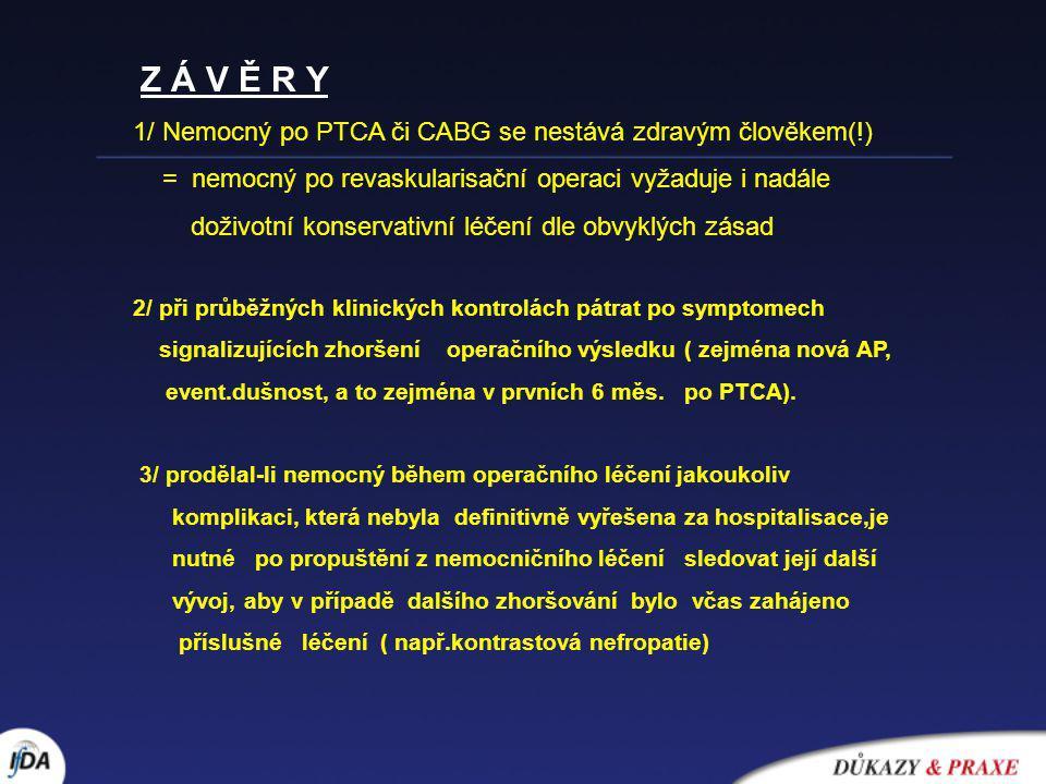 Z Á V Ě R Y 1/ Nemocný po PTCA či CABG se nestává zdravým člověkem(!) = nemocný po revaskularisační operaci vyžaduje i nadále doživotní konservativní