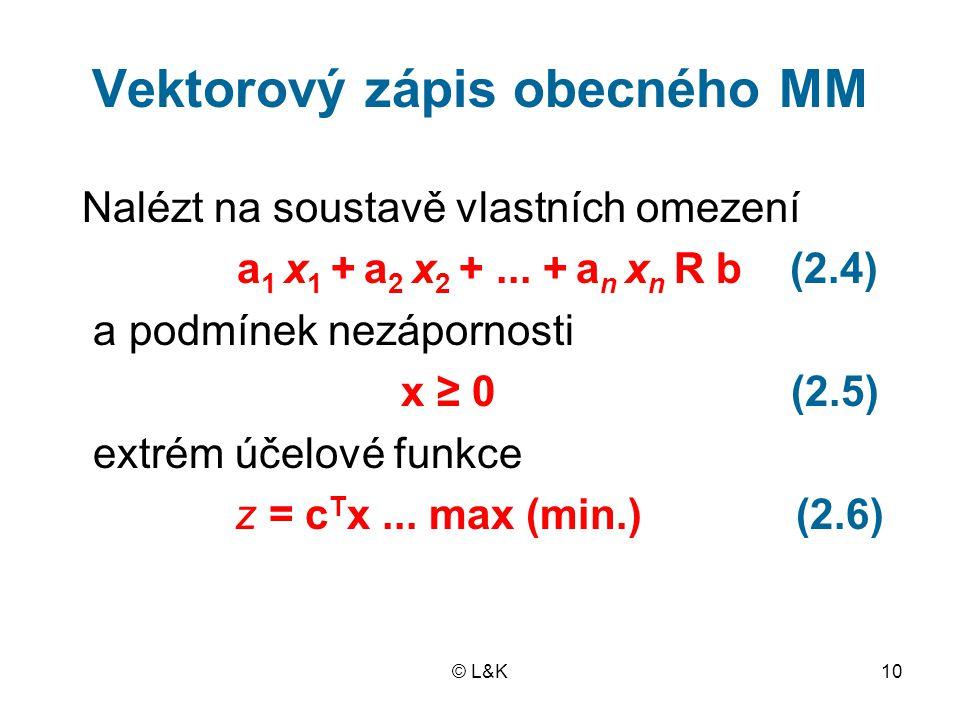 © L&K10 Vektorový zápis obecného MM Nalézt na soustavě vlastních omezení a 1 x 1 + a 2 x 2 +...