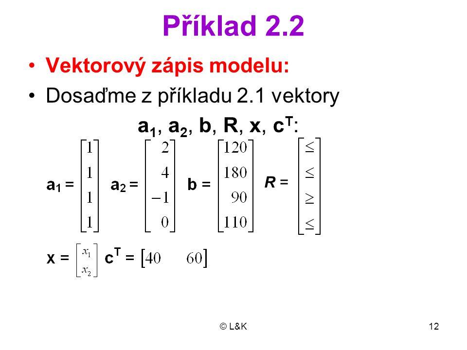 © L&K12 Příklad 2.2 Vektorový zápis modelu: Dosaďme z příkladu 2.1 vektory a 1, a 2, b, R, x, c T : R =
