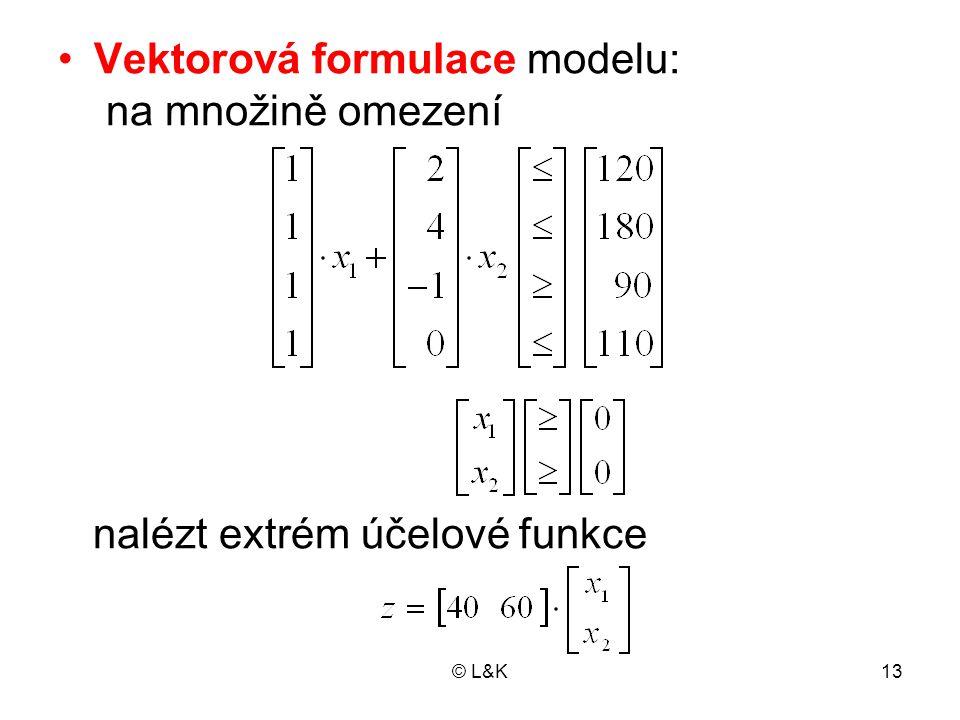 © L&K13 Vektorová formulace modelu: na množině omezení nalézt extrém účelové funkce