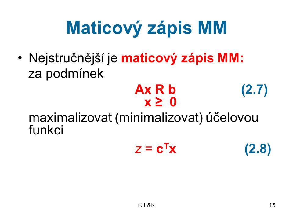 © L&K15 Maticový zápis MM Nejstručnější je maticový zápis MM: za podmínek Ax R b (2.7) x ≥ 0 maximalizovat (minimalizovat) účelovou funkci z = c T x (2.8)